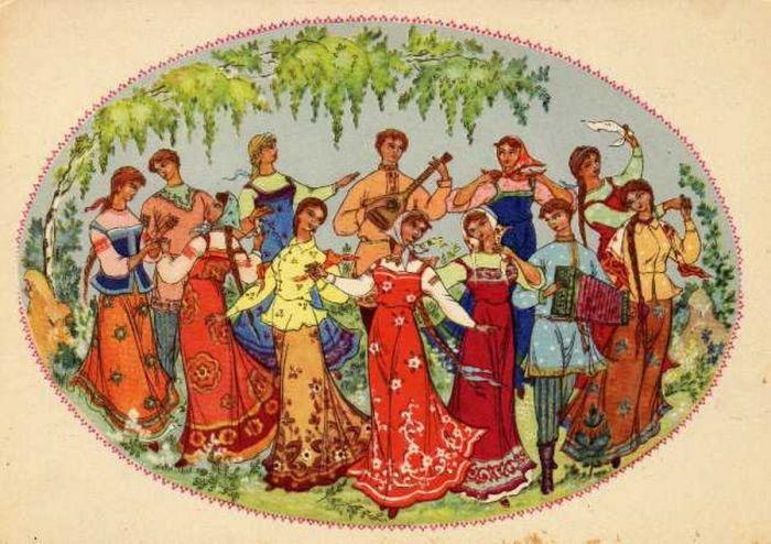 Открытка для, советские открытки хоровод