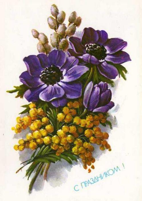 На открытках цветы ссср 2
